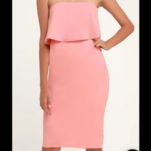 LULU'S Pink Flutter Top Bodycon Dress W/ Pockets